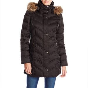 Kenneth Cole New York Faux Fur Trim Jacket_S